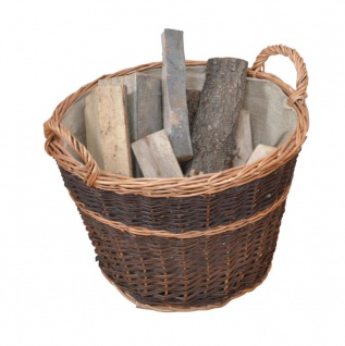 Holzkorb H02, Feuerholzkorb, ungeschälte Vollweide, Ø50cm ~ Jutesack eingenäht