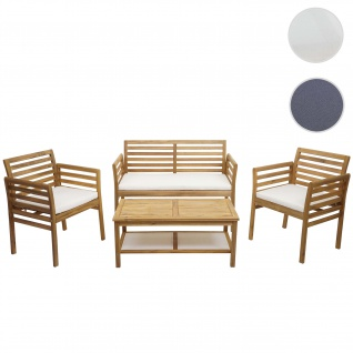 Gartengarnitur HWC-E99b, Sitzgruppe Balkon-Set Lounge-Set, Akazienholz massiv ~ Kissen creme