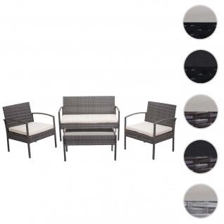 Poly-Rattan Garnitur HWC-F56, Balkon-/Garten-/Lounge-Set Sitzgruppe ~ grau, Kissen creme