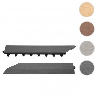2x Abschlussleiste für WPC Bodenfliese Rhone, Abschlussprofil, Holzoptik Balkon/Terrasse ~ anthrazit links mit Haken