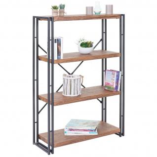 Bücherregal HWC-A27, Standregal Wohnregal, 121x80cm 3D-Struktur 4 Ebenen, Wildeiche-Optik - Vorschau 2