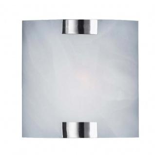 Energiespar Wandleuchte, Nickel matt, Glas weiß
