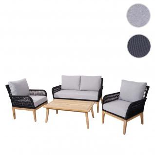 Gartengarnitur HWC-H58, Lounge-Set Sofa Sitzgruppe, Seilgeflecht Massivholz Akazie Spun Poly ~ Kissen hellgrau