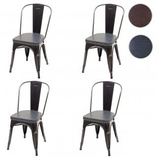 4x Esszimmerstuhl HWC-H10e, Küchenstuhl Stuhl, Chesterfield Metall Kunstleder Industrial Gastronomie ~ schwarz-grau