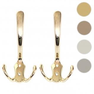 2x Garderobenhaken HWC-D46, Haken Wandhaken Kleiderhaken Set ~ Farbe: gold