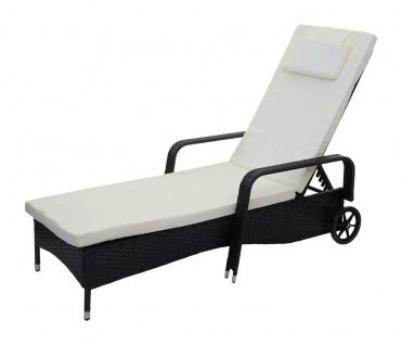 Poly-Rattan Sonnenliege Carrara, Relaxliege Gartenliege Liege, Alu ~ anthrazit, Kissen beige - Vorschau 2