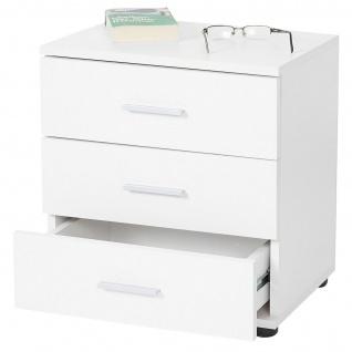 Kommode Pavia, Nachtschrank Nachttisch, 3 Schubladen 50x45x34cm weiß