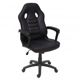 Bürostuhl HWC-F59, Schreibtischstuhl Drehstuhl Racing-Chair Gaming-Chair, Kunstleder ~ schwarz - Vorschau 2