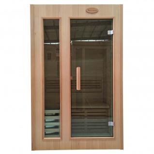 Mini-Sauna HWC-D58, Saunakabine Wärmekabine, Saunaofen 2, 3kW Saunasteine Sicherheitsglas 1 Person 190x120x100cm
