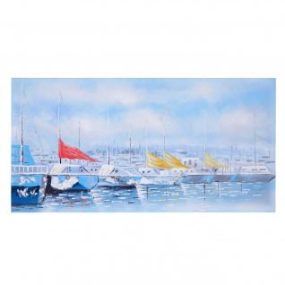 Ölgemälde Boote, 100% handgemaltes Wandbild Gemälde XL, 140x70cm