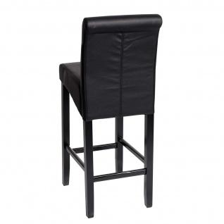 2x Barhocker HWC-C33, Barstuhl Tresenhocker, Holz ~ schwarz matt, dunkle Beine, Kunstleder - Vorschau 3
