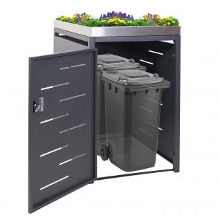 XL 1er-/2er-Mülltonnenverkleidung HWC-H40, Mülltonnenbox, Pflanzkasten Edelstahl-Metall-Kombi 117x73x98cm erweiterbar