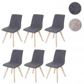 6x Esszimmerstuhl Calgary, Stuhl Lehnstuhl, Retro 50er Jahre Design, Stoff/Textil grau