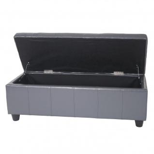 Aufbewahrungs-Truhe Sitzbank Kriens, Leder + Kunstleder, 112x45x45cm grau