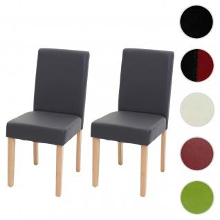 2x Esszimmerstuhl Stuhl Küchenstuhl Littau ~ Kunstleder, grau matt, helle Beine