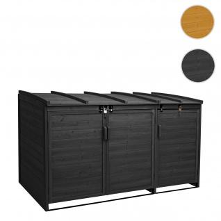 XL 3er-/6er-Mülltonnenverkleidung HWC-H75, Mülltonnenbox, erweiterbar 116x66x92cm Holz FSC-zertifiziert ~ anthrazit