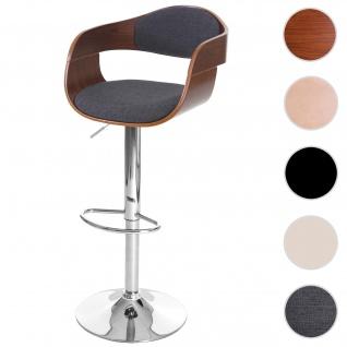 Barhocker HWC-A47, Barstuhl, Holz Bugholz Retro-Design ~ Walnuss-Optik, Textil dunkelgrau