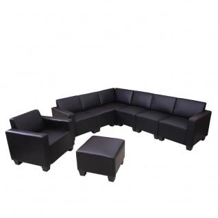 Sofa-System Couch-Garnitur Lyon 6-2, Kunstleder schwarz