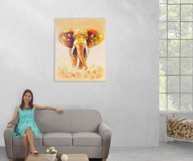 Ölgemälde Elefant, 100% handgemalt, 100x80cm - Vorschau 5