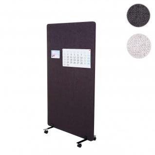 Akustik-Trennwand HWC-G77, Büro-Sichtschutz Raumteiler Pinnwand, doppelwandig rollbar Stoff/Textil ~ 147x80cm braun-grau