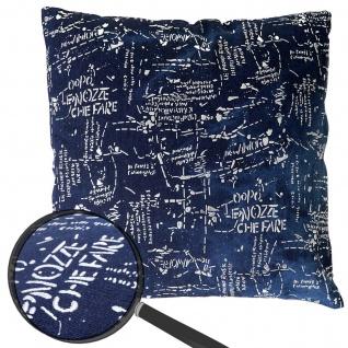 Deko-Kissen Schrift, Sofakissen Zierkissen mit Füllung, blau Glanz-Effekt 45x45cm