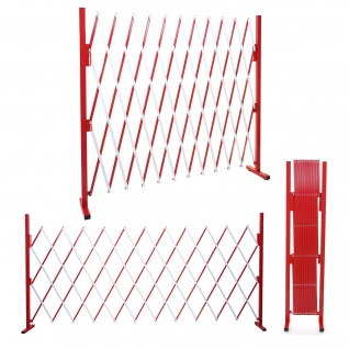 Absperrgitter HWC-B34, Scherengitter Zaun Schutzgitter ausziehbar, Alu rot-weiß ~ Höhe 153cm, Breite 36-300cm