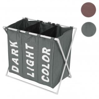 Wäschesammler HWC-C36, Laundry Wäschesortierer Wäschekorb, 3 Fächer klappbar 59x62x37cm 135l ~ grau