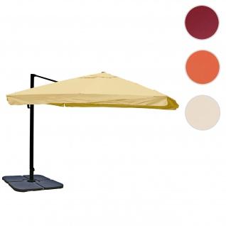 Ampelschirm HWC-A96, Gastronomie, 3x3m (Ø4, 24m) Polyester Alu/Stahl 23kg ~ Flap, creme mit Ständer, drehbar