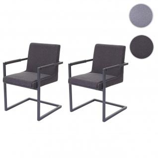 2x Esszimmerstuhl HWC-D34, Freischwinger Küchenstuhl Stuhl Stoff/Textil dunkelgrau
