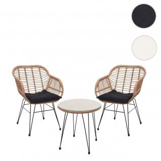 Poly-Rattan Garnitur HWC-G17, Balkon-Set Gartengarnitur Sitzgarnitur Sitzgruppe Stuhl ~ naturfarben, Kissen anthrazit