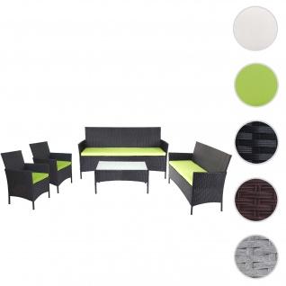 3-2-1-1 Poly-Rattan Garten-Garnitur Halden, Lounge-Set Sitzgruppe Sofa ~ anthrazit, Kissen grün