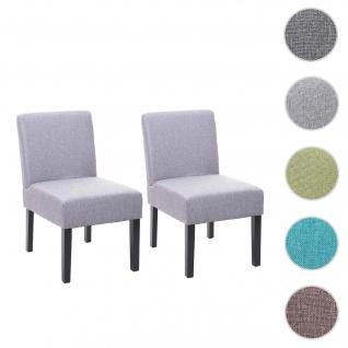 2x Esszimmerstuhl HWC-F61, Stuhl Lounge-Stuhl, Stoff/Textil ~ grau