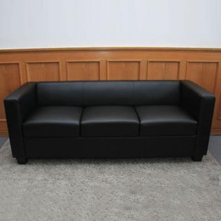3er Sofa Couch Loungesofa Lille ~ Kunstleder, schwarz