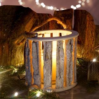 Windlicht 36cm, Hängelaterne Kerzenhalter mit Glaseinsatz 10cm, weiß-grau
