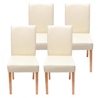 4x Esszimmerstuhl Stuhl Küchenstuhl Littau ~ Kunstleder, creme helle Beine