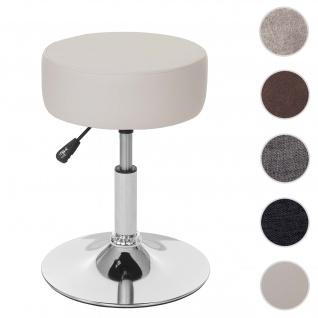 Hocker HWC-C22, Sitzhocker Schminkhocker, höhenverstellbar Ø 35cm ~ Kunstleder, creme