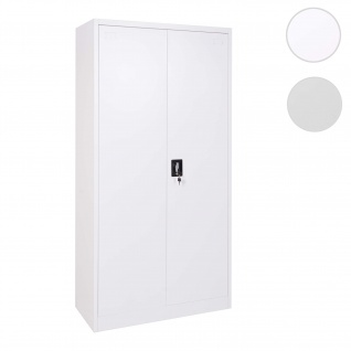 Aktenschrank HWC-H17, Stahlschrank Büroschrank, 2 Türen ~ 185x90cm weiß