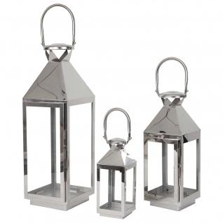 3er Set Laterne HWC-B36, Windlicht Gartenlaterne, Metall Höhe 57/41/26cm