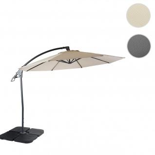 Deluxe Ampelschirm HWC-D14, Sonnenschirm, rund Ø 3m Polyester Alu/Stahl 14kg ~ creme-weiß mit Ständer