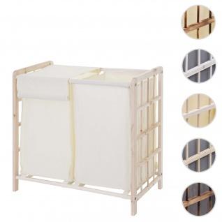 Wäschesammler HWC-B60, Laundry Wäschebox Wäschekorb, Massiv-Holz 2 Fächer 60x60x33cm 68l ~ hellbraun, Bezug creme