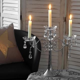 Kerzenständer Kristall, Kerzenleuchter Kerzenhalter, Acryl 3-armig 37x40x40cm silber
