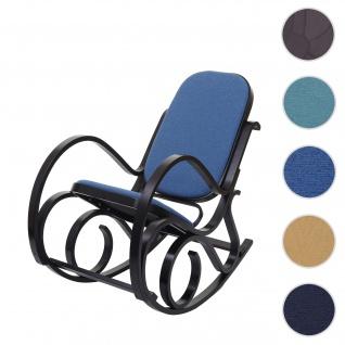 Schaukelstuhl M41, Schwingsessel Fernsehsessel, Massiv-Holz ~ Walnuss-Optik, Stoff/Textil blau
