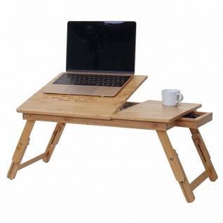 Laptoptisch HWC-B81, Notebooktisch Betttisch Klapptisch mit Lüftungslöcher faltbar höhenverstellbar, Bambus