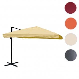 Gastronomie-Ampelschirm HWC-A96, 3, 5x3, 5m (Ø4, 95m) Polyester/Alu 25kg ~ Flap, creme ohne Ständer, drehbar