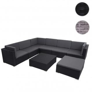 Poly-Rattan Garnitur HWC-G79, Balkon-/Garten-/Lounge-Set Gartenmöbelset Sitzgarnitur Sofa ~ schwarz, Kissen dunkelgrau