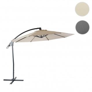 Deluxe Ampelschirm HWC-D14, Sonnenschirm, rund Ø 3m Polyester Alu/Stahl 14kg ~ creme-weiß ohne Ständer