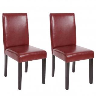 2x Esszimmerstuhl Stuhl Küchenstuhl Littau ~ Kunstleder, rot-braun, dunkle Beine