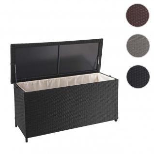 Poly-Rattan Kissenbox HWC-D88, Gartentruhe Auflagenbox Truhe ~ Premium schwarz, 63x135x52cm 320l