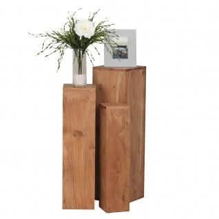 3er Set Beistelltisch Konya, Wohnzimmertisch Telefontisch, Akazie Massivholz, 85x25x25cm