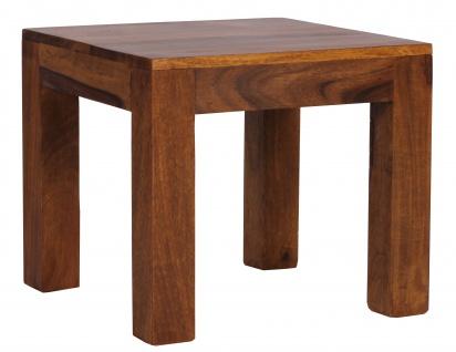 Beistelltisch Malatya, Couchtisch Wohnzimmertisch, Sheesham Massivholz, 40x45x45cm